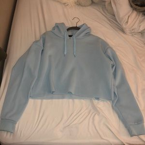 Tops - Light blue cropped hoodie